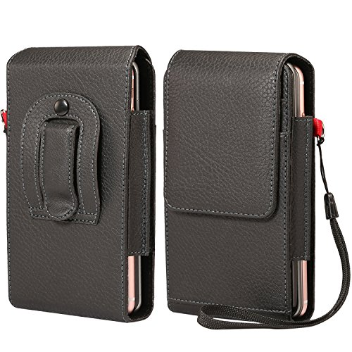 Two-Layers Belt Clip Case Phone Holster Pouch Cards Holder Wristlet Fit for iPhone Xs Max / 8 Plus/Motorola Z3 Play / G6 Play/HTC U12 Plus/Blu Vivo XL3 Plus/Samsung Galaxy Note 8 / 9S Plus