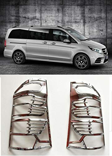 Boa Line Auto - Abs Chrome Cubierta de llanta para lámpara trasera, 2 unidades, compatible con Mercedes Vito W447 2014-2018