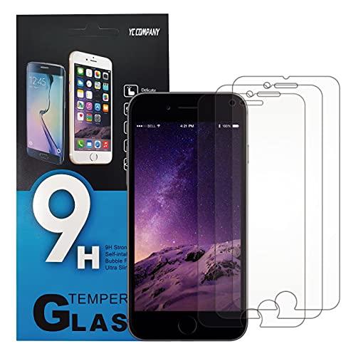 YC COMPANY - Lot de 3, Verre Trempé Compatible avec iPhone 6, iPhone 6S. Film Protection Écran Anti Rayures Ultra Résistant (0,33mm HD Transparent) - Dureté 9H Glass