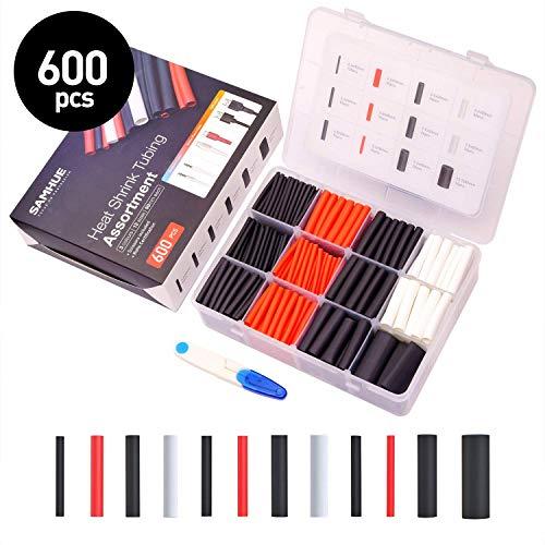 600 Stücke Schrumpfschlauch Set Heat Shrink Tube 3: 1 Schrumpfverhältnis Kleber mit 7 Verschiedene Größen Schrumpfschläuche Sortiment PE Box und Schere zur gestellt 3 Farbe (schwarz, weiß, rot)