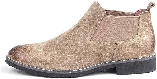 FF Herren Stiefel Retro Plus SAMT Schneestiefel Leder Martin Stiefel Stiefelies (Farbe   Khaki, Größe   EU39 UK6.5 CN40)