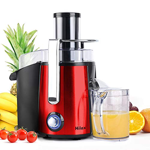 Centrifugal Juicer Machine - Juice Maker Extractor,Juice Processor Fruit and Vegetable,Easy to Clean Stainless Steel Power Juicer,Dual Speed,Big Mouth 3 Inches Feed Chute,Anti-drip,BPA Free (Red)
