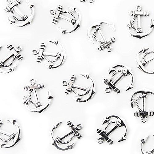 24 kleine silber farbene Mini Anker Schiffsanker MIT ÖSE zum Aufhängen - Bootsanker Streuteile Streudeko Zierstreu Miniaturen Anhänger Tischschmuck maritim Hochzeit Business Symbol Kraft Mut Streuen