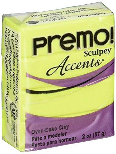 Polyform Premo Sculpey - Arcilla polimérica Amarillo Fluorescente, acrílico, 5 Piezas