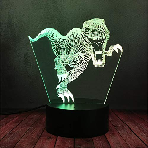 LBJZD luz de noche Dinosaurio 3D Vision Lámpara Muticolors Led Rgb Night Light Kids Boy Sleeping Room Decoración Niño Cumpleaños Lámpara De Humor Con Mando A Distancia