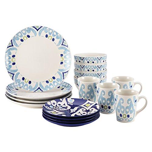 Rachael Ray Dinnerware Ikat 16-Piece Stoneware Dinnerware Set, Print