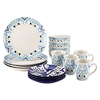 Rachael Ray Dinnerware Ikat Collection 16-Piece Set, Blue
