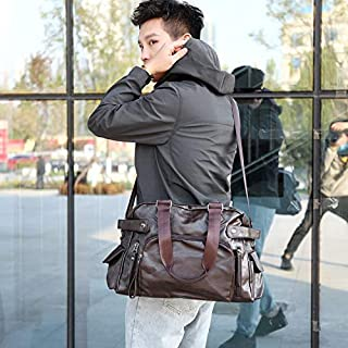 Luggage & Bags PU Leather Shoulder Travel Bag Sport Leisure Handbag (Black) (Color : Brown)