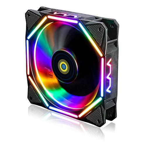 conisy Ventilador de PC de 120 mm,Ultra Silencioso LED Ventilador de Enfriamiento de Computadora de Escritorio - RGB Vistoso (1 Piezas)