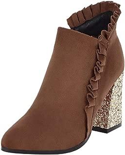 Melady Women Sweet Ruffle Booties Block Heels Zipper