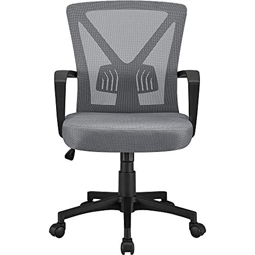 Yaheetech Dark Grey Ergonomic Office Chair Adjustable Computer Desk Chair Fabric Mesh Chair Swivel Chair for Work or Study