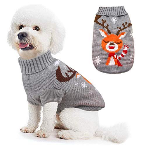 Idepet Hundekostüm Weihnachten, Welpe Hund Katze Strickpullover Sweater Weihnachten Rentier Jumper Haustier Kostüm Mantel