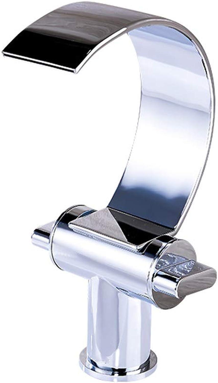 Fanxu Unique Modern Flat Mouth Waterfall Bathroom Mixer Double Knob Waterfall Basin Mixer