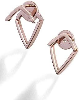 TRILL EAR JACKET EARRINGS   18K Gold Vermeil   Wishbone Stud   Geometric   Minimalist   Lightweight   Front Back Convertible   Hypoallergenic   925 Sterling Silver   Fashion   Women Jewelry