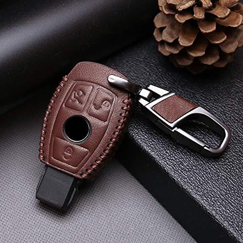 ZYHYCH Auto Schlüsselanhänger Kettenhalter Anhänger, passend für Mercedes Benz W203 W210 W211 W202 W204 AMG CES CLS CLK CLA SLK W205 Schlüsselhülle Deckelschale, 3 Knopf braun