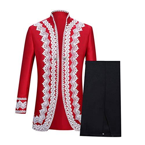 INLLADDY Herren Gothic Prinz Anzug Cosplay Kostüm Militär Uniform Retro Leistungskleidung Mantel Hose fur Party Karneval Wassermelone S