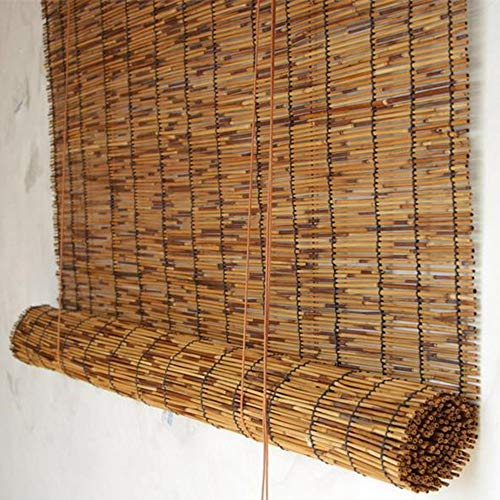 CMJM Bamboo Roll Up Window Blind Sun Shade Roll-up Reed Shade Carbonized Color Retro Light Filtering Roll Up Blinds