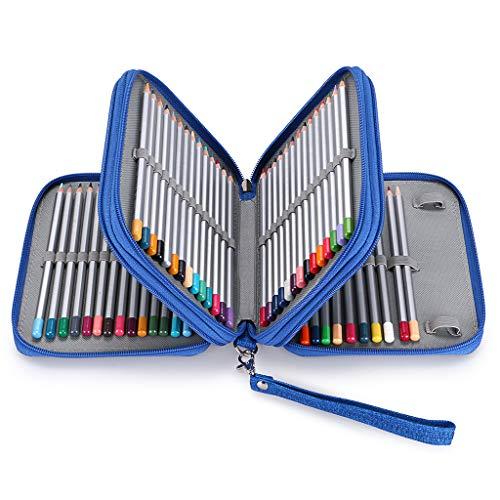 BTSKY Zippered Pencil Case-Canvas 72 Slots Handy Pencil Holders for for Prismacolor Watercolor Pencils, Crayola Colored Pencils, Marco Pencils (Blue)