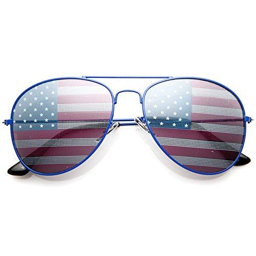 zeroUV American Flag USA Classic Teardrop et al Pilot Occhiali da Sole 1 M Blu
