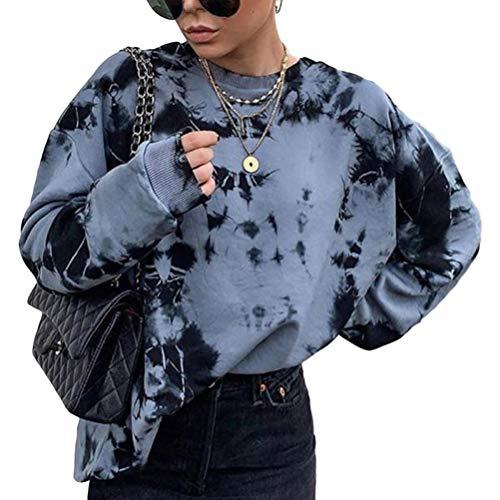 Shownicer Sweatshirts Damen Lange Ärmel Pullover Winter Mit Rundhalsausschnitt Vintage Streetwear Oversized Bunter Cartoons Mädchen Sportbekleidung Top Z3 Blau M