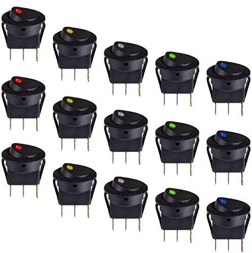NATEE 15pcs Interruptor de Botón ON/OFF, Conmutador Basculante LED, Interruptor Basculante Luz LED 125V 6A 3pin para Coche Moto Barco Camión 5 Colores Agujero Requerido 20 mm Plástico Latón Duradero