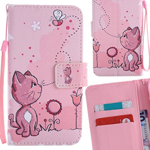 Yiizy Huawei P8 Lite Huawei ALE-L21 Coque Etui, Chatte Rose Design Flip PU Cuir Cover Couverture Coquille Portefeuille Housse Média Fente pour Carte Protecteur Skin Poche