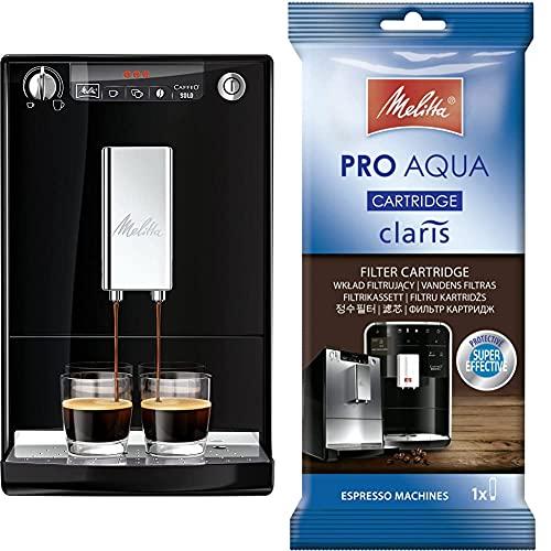 Melitta Caffeo Solo E950-101 Schlanker Kaffeevollautomat mit Vorbrühfunktion/15 Bar/LED-Display/höhenverstellbarer + 192830 Filterpatrone für Kaffeevollautomaten, 1 Patrone