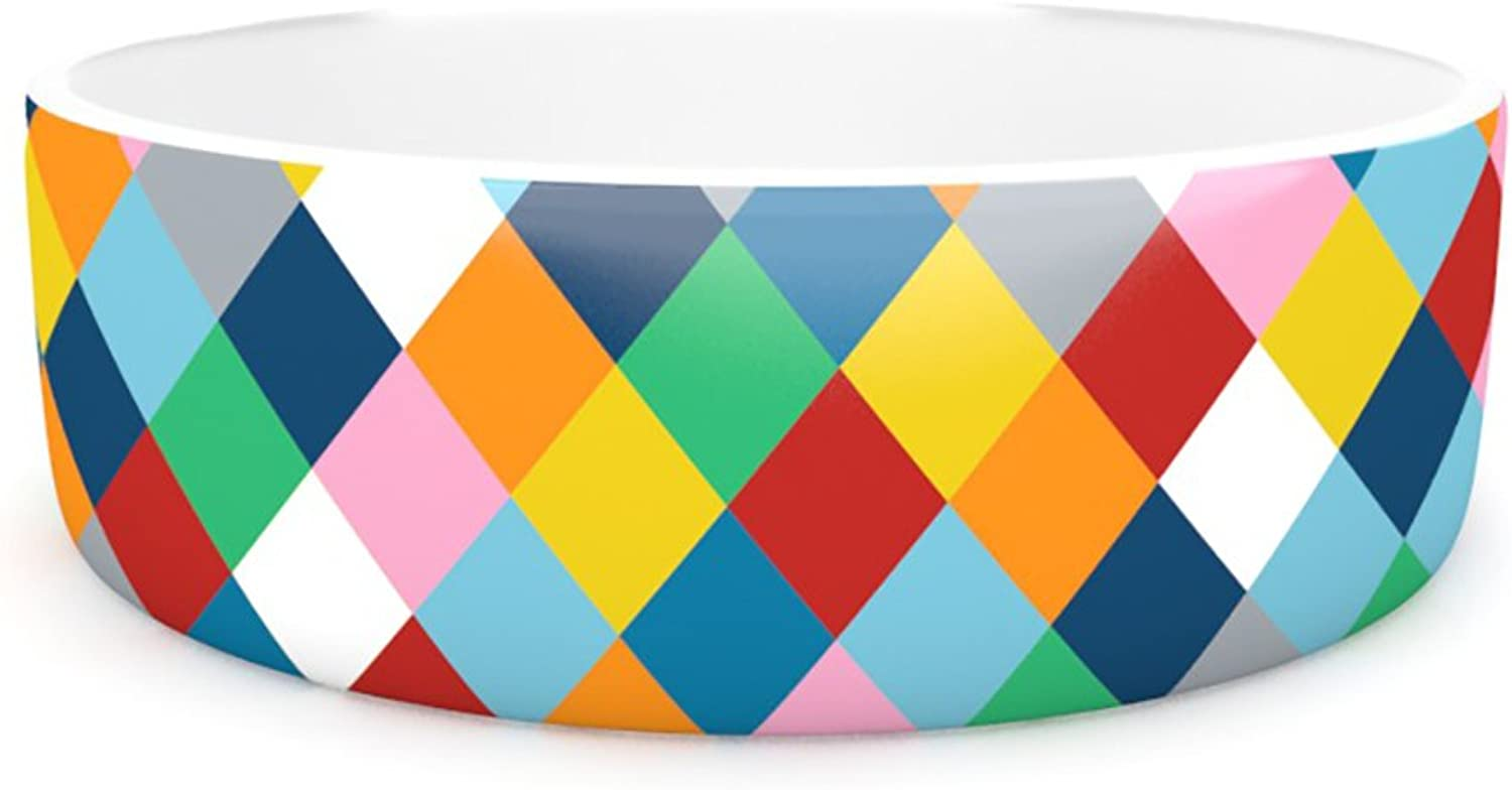 Kess InHouse Project M Harlequin Zoom  Pet Bowl, 7Inch