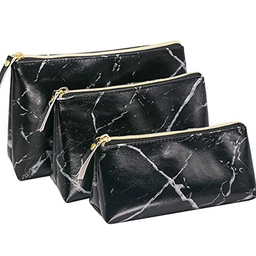 Luxus Marmor Kosmetiktasche Set von 3 Wasserdicht PU Leder Kulturbeutel Reise Toiletbag Duschbeutel für Damen
