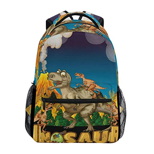 WKLNM Rugzak Cute Cartoon Dinosaurus Kingdom Family Casual Backpack Student School Bag Travel Hiking Camping Laptop Daypack