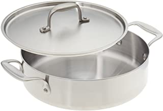 product image for American Kitchen Cookware 10-inch Stainless Steel Casserole Pan with Fitted Cover; Tri-Ply Stainless Steel; Manufactured in USA