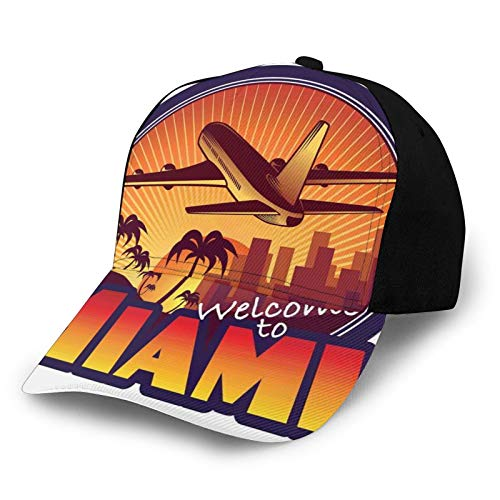 Printed Baseball Cap,Welcome To Miami Airplane Palms and City At Sunset Graphic Circle,Hat for Men Women Teens