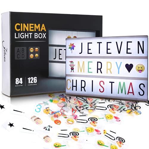 Jeteventy Caja de Luz A4 con 210 Letras, Lightbox LED Letras Emoji Lámparas Números USB, Regalos Niñas Decoradas para la Navidad la Boda de la Fiesta de Cumpleaños [Clase de eficiencia energética A]