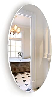 Facilehome Oval Wall Mounted Mirror Dressing Mirror Frameless,Bedroom or Bathroom Mirror,Horizontal or Vertical(25.1