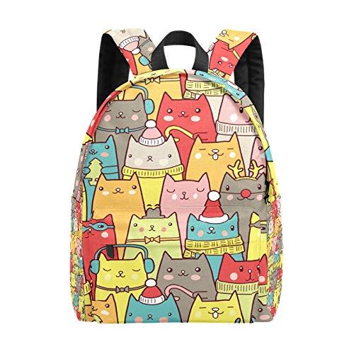 Zaino scolastico per ragazze e ragazzi Natale carino gatto gattino renna borsa scuola leggera borsa da viaggio grande borsa portatile zaino per uomini donne