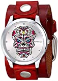 Nemesis GBR925S Women's Rock Collection Sugar Skull Red Wide Leather Cuff Band Watch