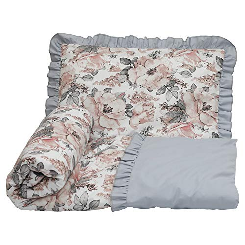 Olobaby Frill Ruffle 2 pcs Baby Cot Bed Bedding Set/Duvet Cover & Pillowcase 100% Cotton (Vintage Roses in Pastels/Grey, 120 x 90 cm)