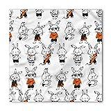 Ambesonne Unisex Bandana, Funny Cute Retro Bunny Rabbits, Orange White
