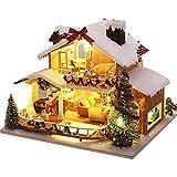 ORTUH Kit En Miniatura De Casa De Muñecas De Bricolaje con Muebles, Casa En Miniatura De Madera 3D con Luz LED De Cubierta Antipolvo, Kit De Casa De Muñecas En Miniatura