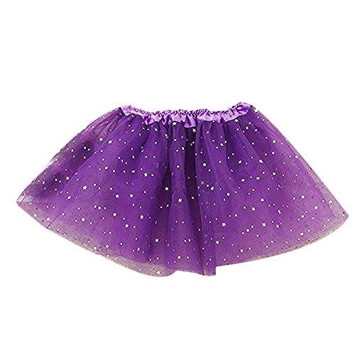 Coloré(TM) Layered Ruffle Tulle Ballet Girls Jupe (Violet, Longueur: 28cm)