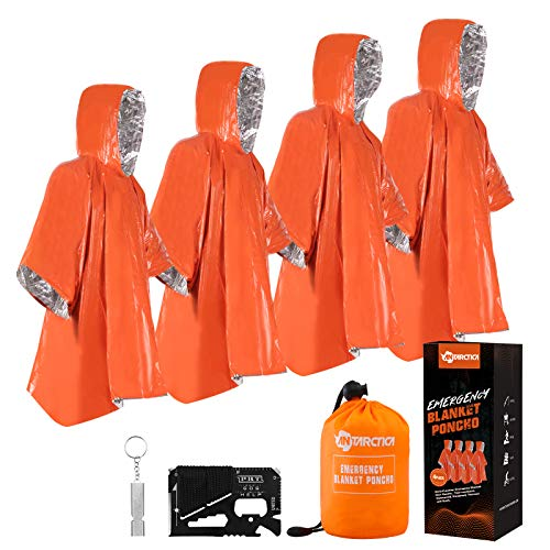 ANTARCTICA Emergency Blanket Poncho 4 Pack Lightweight Waterproof Thermal Gear Raincoat Survival Equipment for Outdoor Activity Camping and Hiking