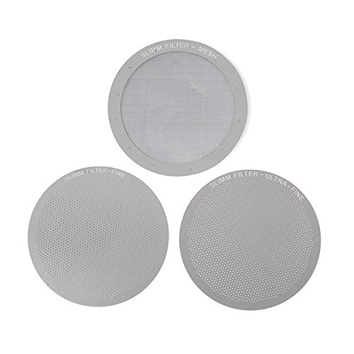 Reusable Aeropress Filter Set – 3 Piece, Stainless Steel Metal – Mesh, Fine, Ultra-Fine Metal Filter For Aeropress Coffee and Espresso Maker – Brew Barista-Grade Coffee At Home