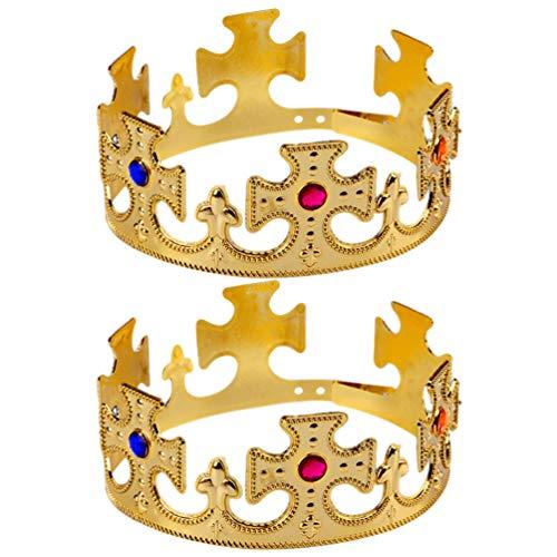 UPKOCH 2Pz Corona da Re in Plastica Royal King Crown Hat con Finte Pietre Bambino Bomboniere per Festa Compleanno Costume per Carnevale Carnevale Halloween Cosplay