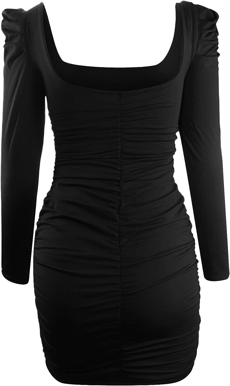Women Casual Square Neck Ruched Long Sleeve Bodycon 2021 Shirt Short Mini Dresses Basic Mini Club Night Out Dresses