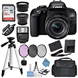 Canon EOS Rebel 800D (T7i) DSLR Camera w/ 18-55mm Lens(Black) with Accessory Bundle, Package Includes: SanDisk 32GB Card + DSLR Bag + 50'' Tripod+Extreme Elec Cloth (International Model)
