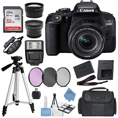 Canon EOS Rebel 800D (T7i) DSLR Camera w/ 18-55mm Lens(Black) with Accessory Bundle, Package Includes: SanDisk 32GB Card + DSLR Bag + 50'' Tripod+Extreme Elec Cloth (International Model)