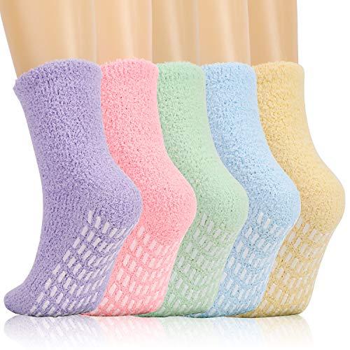 QKURT 5 pares de calcetines mullidos, calcetines de invierno con zapatillas, calcetines de cama difusos, calcetines cómodos para dormir, calcetines cálidos, calcetines de casa para mujeres y niñas