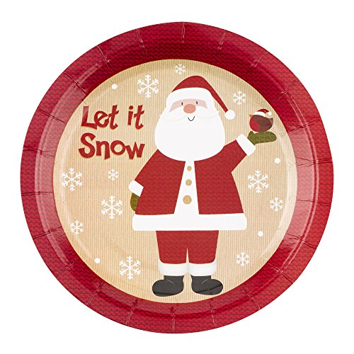 Neviti Let It Snow de Papá Noel Platos, Pack de 8