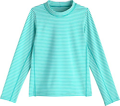 Coolibar UPF 50+ Kid's Sandshark Long Sleeve Surf Shirt - Sun Protective (X-Large- Tropical Mint Stripe)