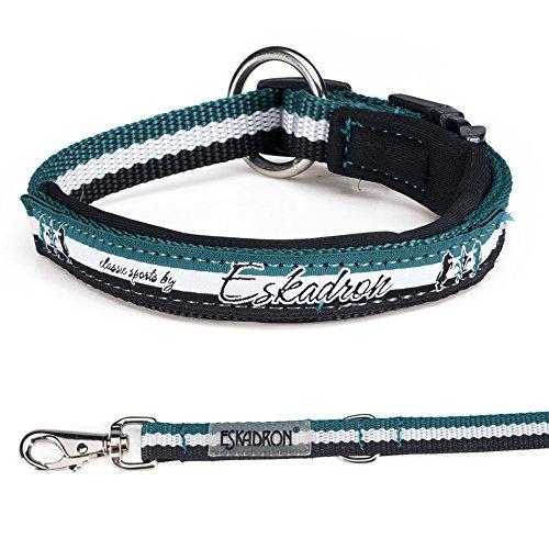 Eskadron Hundehalsband und Leine Petrol-White-Black (431818744), Größe:XL